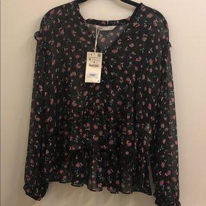 BRAND NEW ZARA Sheer black blouse SIZE M